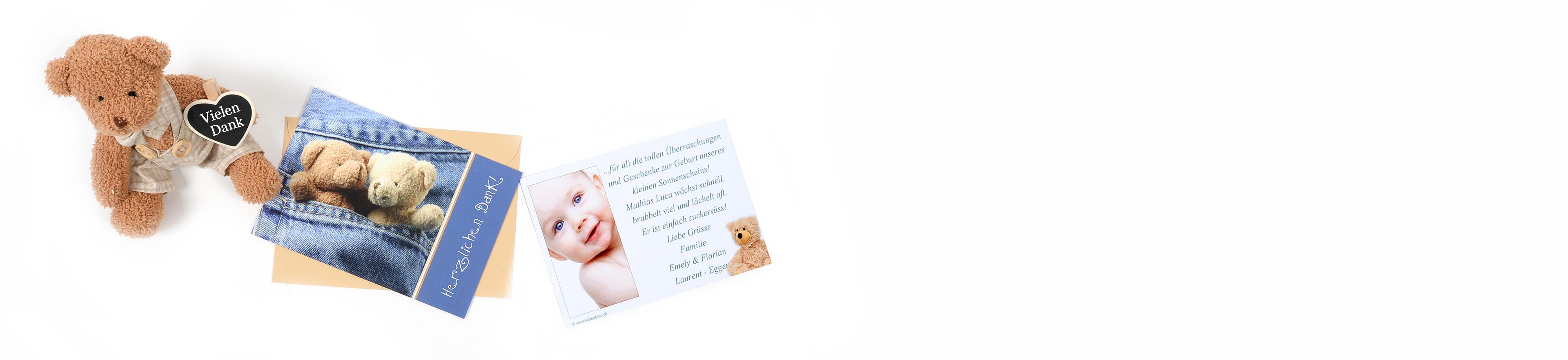 Dankeskarten zur Geburt nur auf karten4you.ch kaufen   Format ...