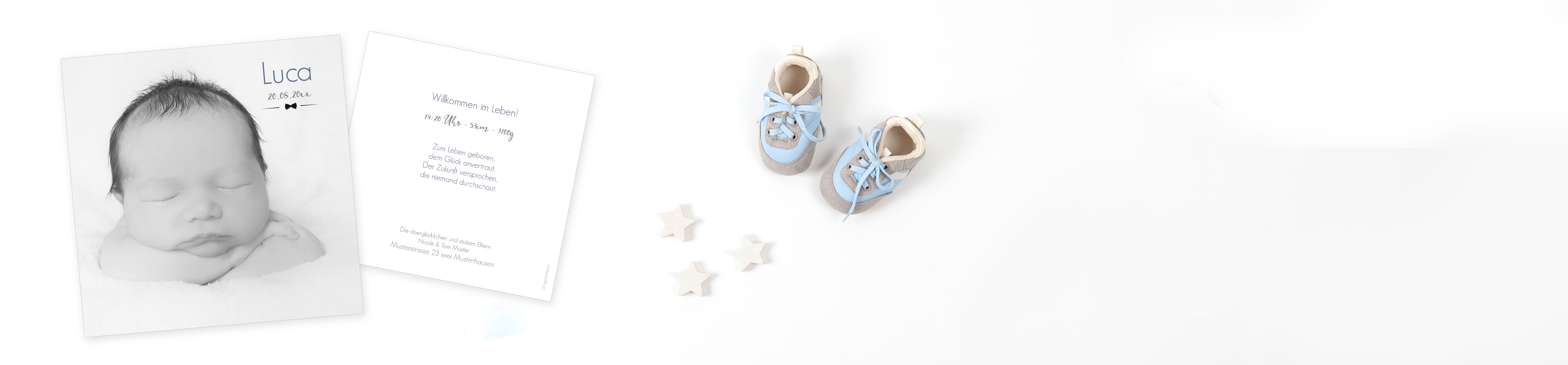 Babykarten Sprüche | header babykarten schlicht