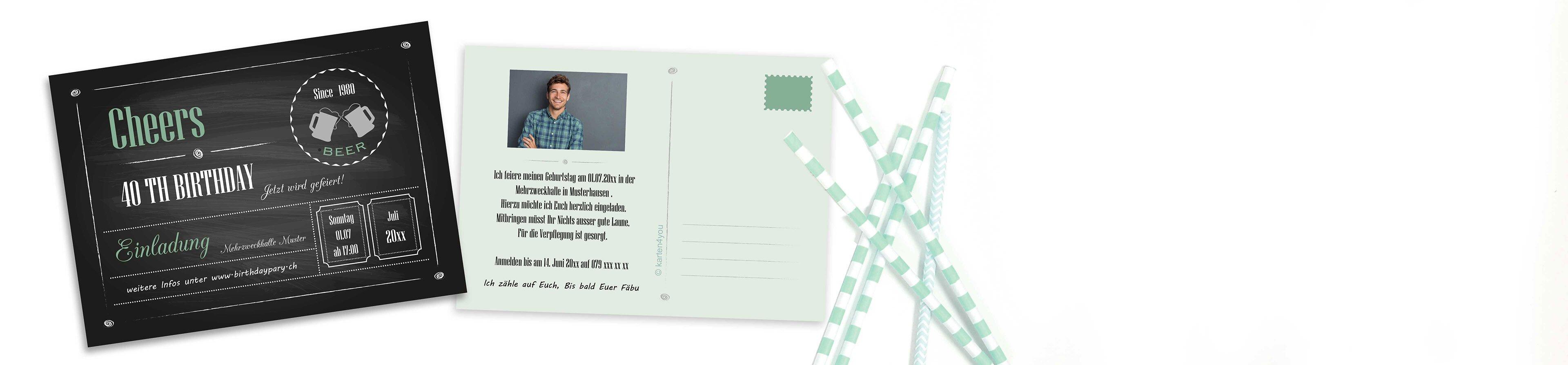 Einladungskarten Im Praktischen Postkartenformat Auf Www Karten4you Ch